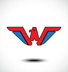 Letter W eagle head vector image