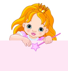 Little princess over blank sign vector