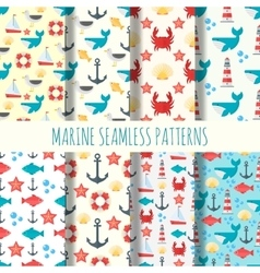 Marine seamless pattern set vector image