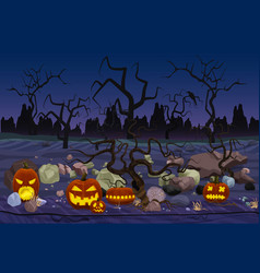 Mystery forest with pumpkin vector