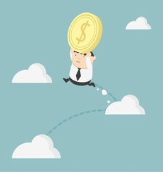 Obese businessman holding money jump up cloud vector