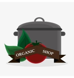 Organic shop tomato leaves cooking pot banner vector
