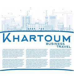Outline khartoum skyline with blue buildings and vector