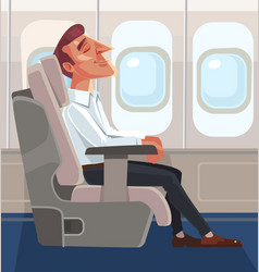 passenger man character sitting chair and relax vector image vector image