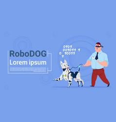 Robotic dog guiding blind man cute domestic animal vector