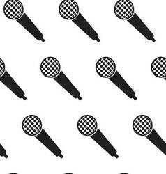 Seamless monochrome pattern vintage microphone vector