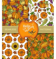 Set of seamless harvest patterns vector