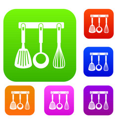 Spatula ladle and whisk kitchen tools set vector