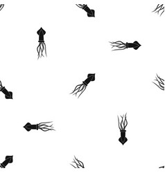 Squid pattern seamless black vector