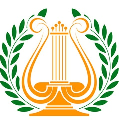 Stencil of lyre and laurel wreath vector