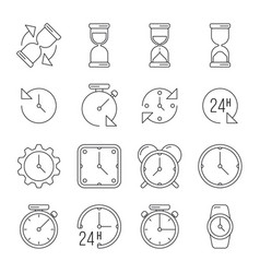 time management sand clock 24 hours thin line vector image vector image