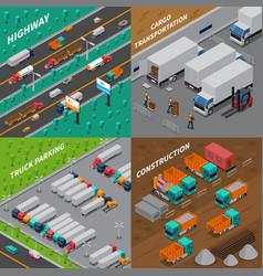 Trucks isometric design concept vector