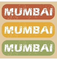Vintage mumbai stamp set vector