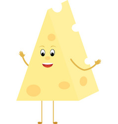 Yellow cheese triangle cartoon slice character vector