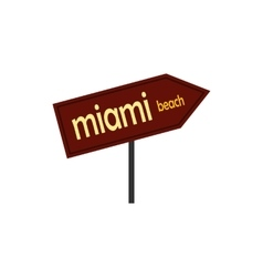 Miami arrow post sign icon flat style vector