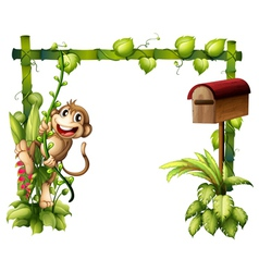 A monkey swinging beside a wooden mailbox vector