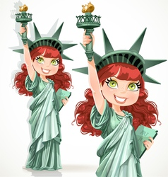 Curly hair girl dressed as the statue of liberty vector