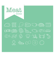 Meat line icon on green background vector