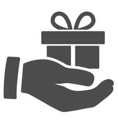 Present box give hand icon vector