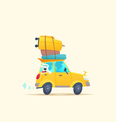 Modern poster with a summer car for travel with vector