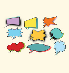 Set of colored comic bubbles with halftone effect vector