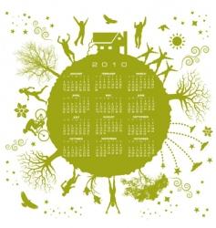 2010 green globe calendar vector image vector image