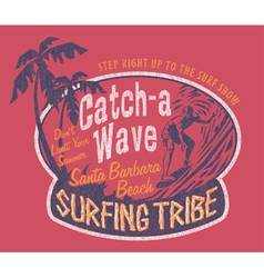 Santa Barbara surfing vector image