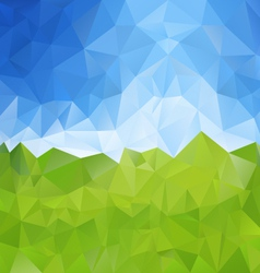 Green meadow blue sky polygonal triangular pattern vector