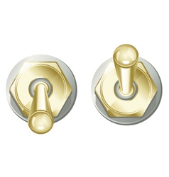 Golden toggle switch button vector