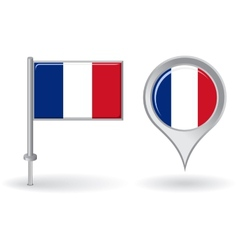 French pin icon and map pointer flag vector