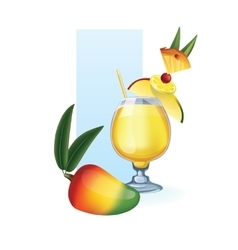 Mango in goblet of juice cocktail smoothie vector