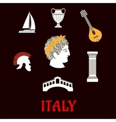 Italian culture and travel icons vector