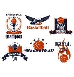 Basketball icons with shoes and balls vector