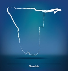 Doodle map of namibia vector