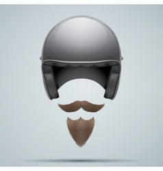Motorcyclist symbol with mustache and beard vector