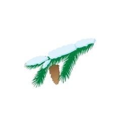 Pine branch icon cartoon style vector