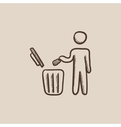 Man throwing garbage in a bin sketch icon vector