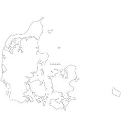 Black White Denmark Outline Map vector image