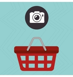 Red basket and camera isolated icon design vector