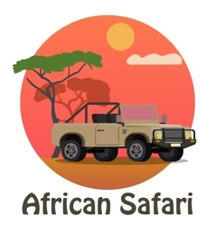 African safari - tourist jeep on the background of vector