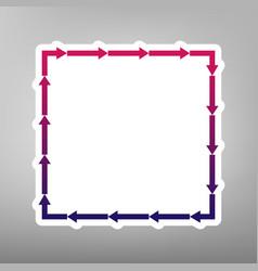 Arrow on a square shape purple gradient vector