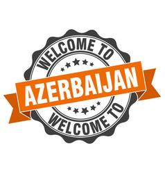 Azerbaijan round ribbon seal vector