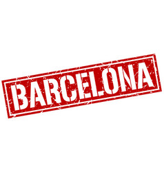 barcelona red square stamp vector image