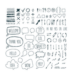 big set of sketch arrows speech bubbles clouds vector image