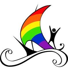 Boat with rainbow sail vector