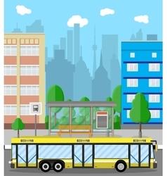 Bus stop city road trees trash bin clouds vector
