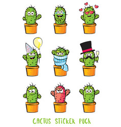 Cute cactus cartoon characters set emoji vector