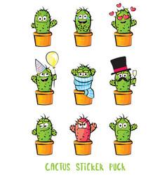 cute cactus cartoon characters set emoji vector image vector image