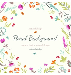 Cute floral background with flowers and herbs vector