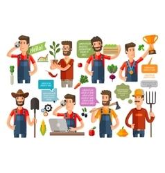 farmer or farming gardening icons set vector image vector image